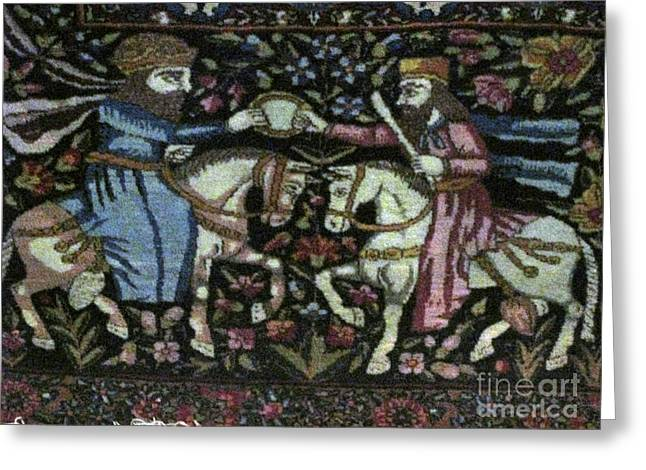 Carpet Tapestries - Textiles Greeting Cards - Acheamenian Iran Photos of Persian Antique Rugs Kilims Carpets achaemenid  Greeting Card by Persian Art