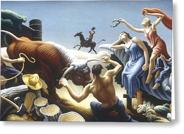 Best Sellers -  - Man Dressed In Black Greeting Cards - Achelous and Hercules Greeting Card by Thomas Benton