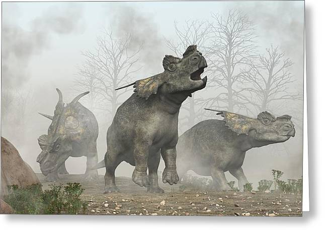 Triassic Greeting Cards - Achelousauruses Greeting Card by Daniel Eskridge
