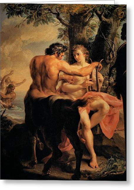 The Uffizi Greeting Cards - Achilles and the Centaur Chiron Greeting Card by Pompeo Batoni