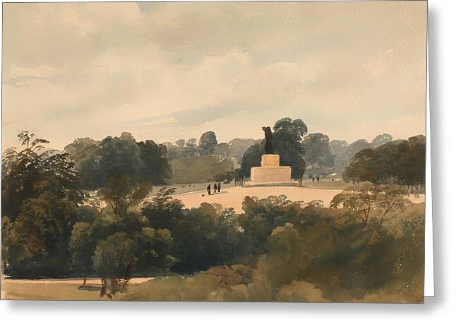 Historic Statue Paintings Greeting Cards - Achilles Statue in Hyde Park London Greeting Card by Peter DeWint