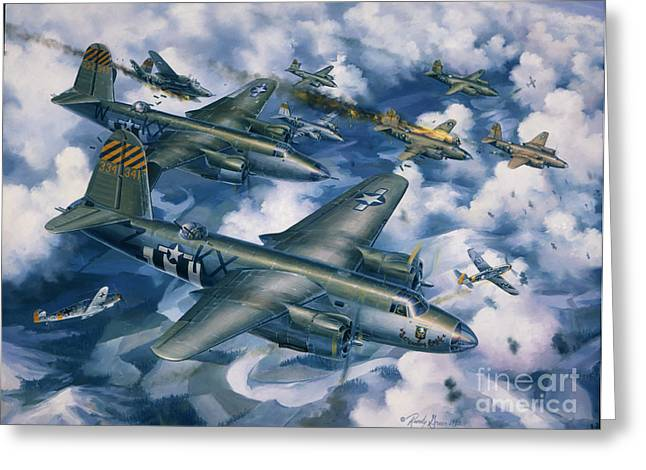 Air Plane Greeting Cards - Achtung Zweimots Greeting Card by Randy Green