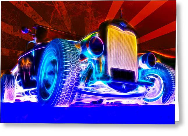 Aotearoa Greeting Cards - Acid Ford Hot Rod Greeting Card by Phil