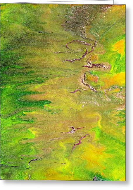 Acid Green Abstract Greeting Card by Julia Apostolova