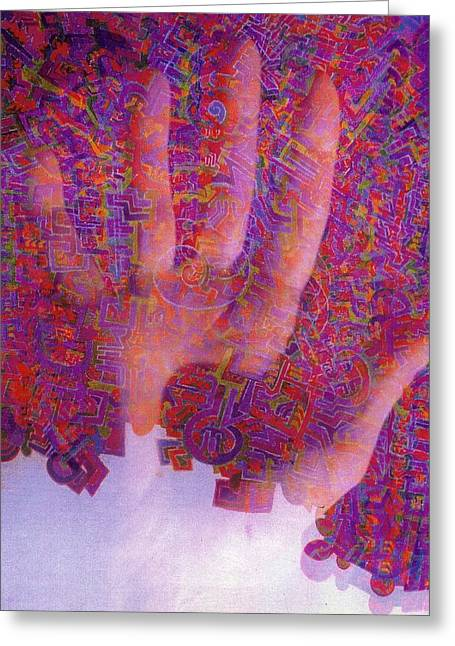 Hallucination Drawings Greeting Cards - Acid Hand Greeting Card by Davivid Rose