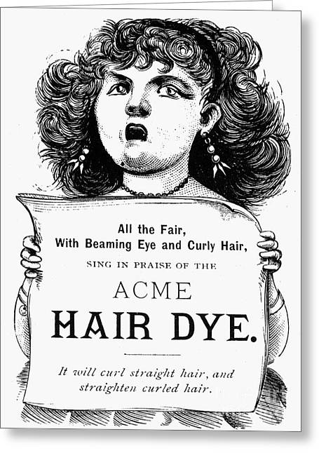 Hair Dye Greeting Cards - ACME HAIR DYE AD, c1890 Greeting Card by Granger