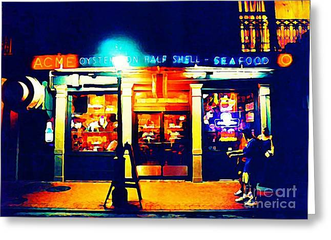 Halifax Art Work Greeting Cards - Acme Oyster Shop New Orleans Greeting Card by John Malone