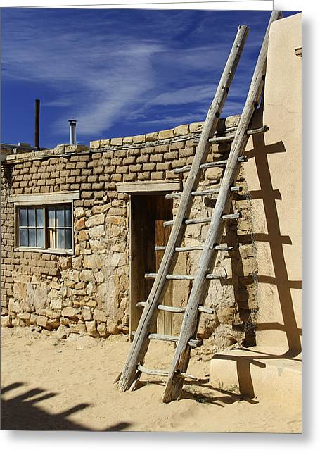Adobe Digital Greeting Cards - Acoma Pueblo Adobe Homes 4 Greeting Card by Mike McGlothlen