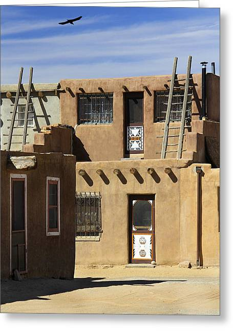 Adobe Digital Greeting Cards - Acoma Pueblo Adobe Homes Greeting Card by Mike McGlothlen