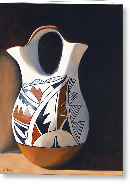 West Indian Greeting Cards - Acoma Wedding Vase Greeting Card by Jack Atkins