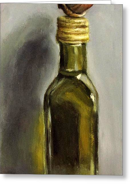 Flasche Greeting Cards - Acorn on Linseed Oil Greeting Card by Ulrike Miesen-Schuermann