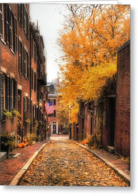 New England Autumn Greeting Cards - Acorn St. Greeting Card by Joann Vitali