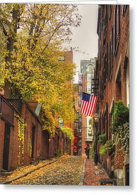 New England Autumn Scenes Greeting Cards - Acorn Street - Boston Greeting Card by Joann Vitali