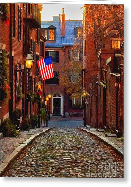 Acorn Greeting Cards - Acorn Street Greeting Card by Joann Vitali