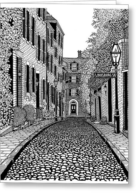 Conor Drawings Greeting Cards - Acorn Street Louisburg Square Greeting Card by Conor Plunkett