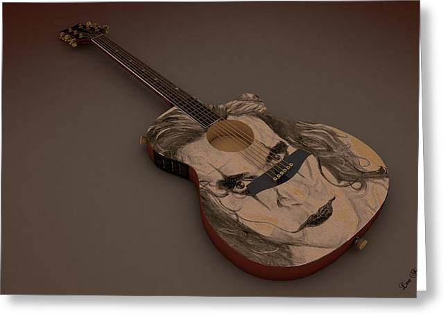 Guitar Pictures Greeting Cards - Acoustic Eletric Guitar Greeting Card by Louis Ferreira