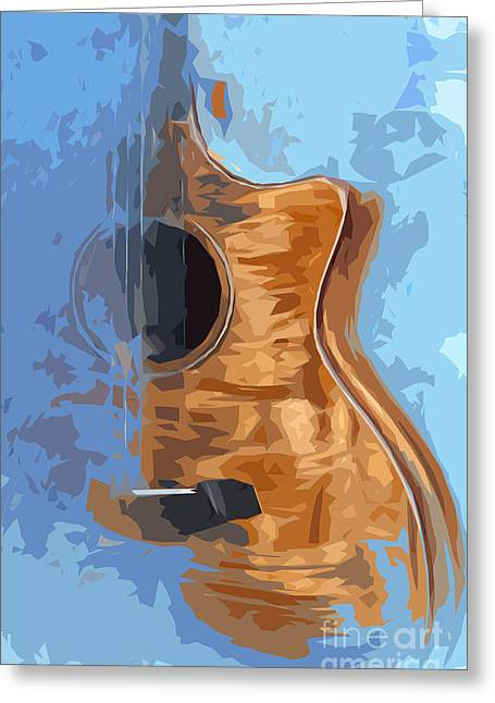 Blue And Green Drawings Greeting Cards - Acoustic Guitar Blue Background 1 Greeting Card by Pablo Franchi