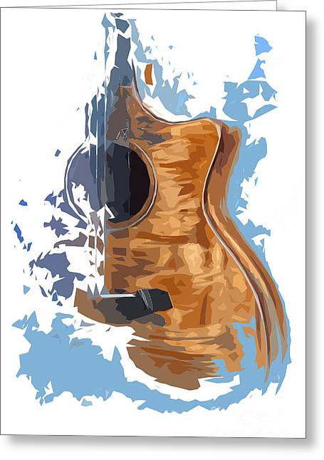 Wood Instruments Greeting Cards - Acoustic Guitar Blue Background 4 Greeting Card by Pablo Franchi