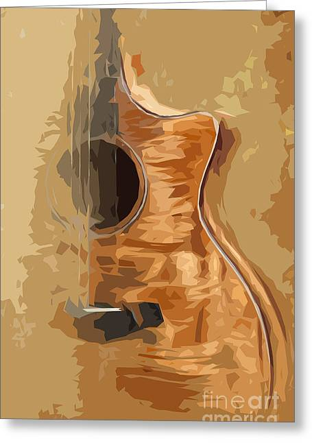 Wood Instruments Greeting Cards - Acoustic Guitar Brown Background 1 Greeting Card by Pablo Franchi