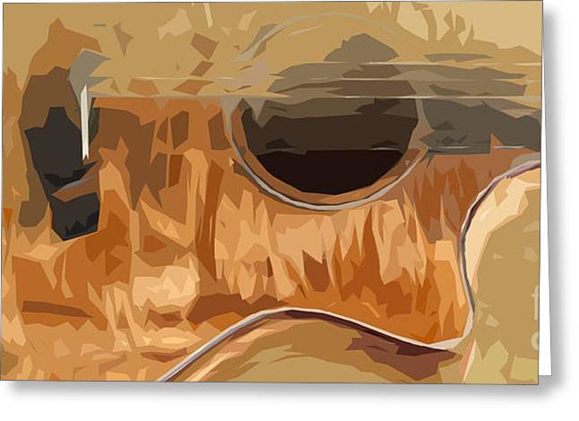 Guitarra Greeting Cards - Acoustic Guitar Brown Background 2 Greeting Card by Pablo Franchi