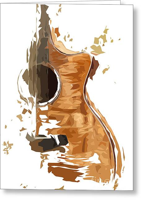 Guitarra Greeting Cards - Acoustic Guitar Brown Background 4 Greeting Card by Pablo Franchi