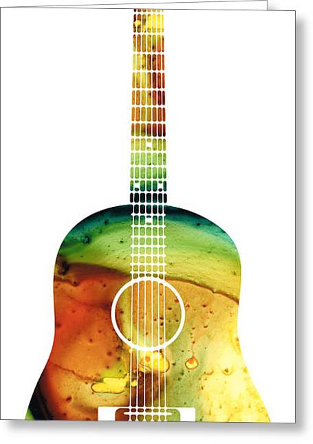 Instrument Mixed Media Greeting Cards - Acoustic Guitar - Colorful Abstract Musical Instrument Greeting Card by Sharon Cummings