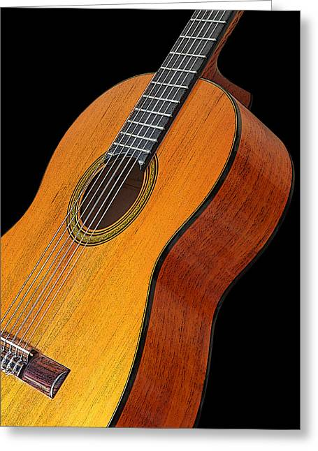 Orange And Brown Designs Greeting Cards - Acoustic Guitar Greeting Card by Gill Billington