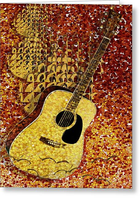 Tuba Greeting Cards - Acoustic Guitar Greeting Card by Jack Zulli