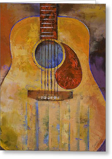 Pablo Paintings Greeting Cards - Acoustic Guitar Greeting Card by Michael Creese