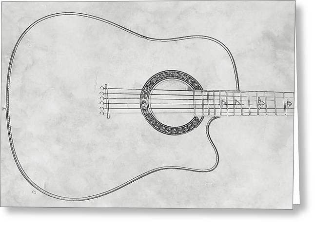 Acoustic Guitar On White Sketch Greeting Card by Randy Steele