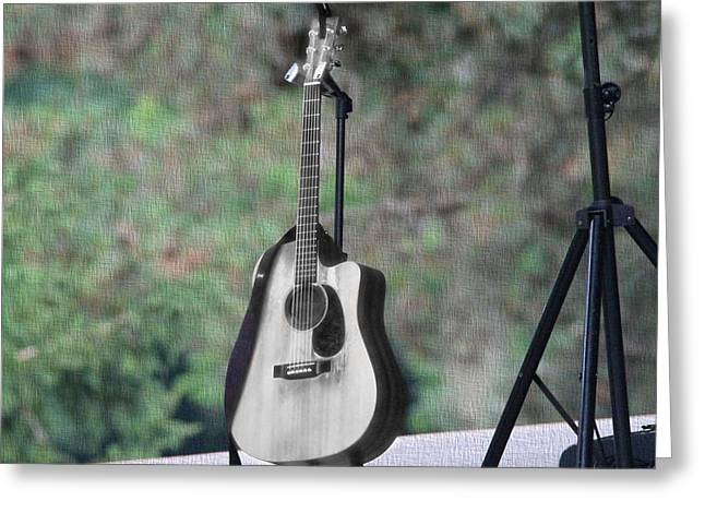 Straps Greeting Cards - Acoustic Guitar Outside Concert Greeting Card by Dan Sproul