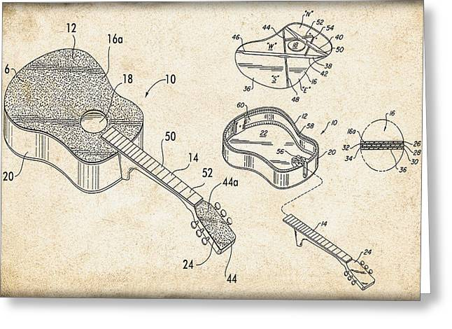 Musicans Greeting Cards - Acoustic Guitar Patent Greeting Card by Digital Reproductions