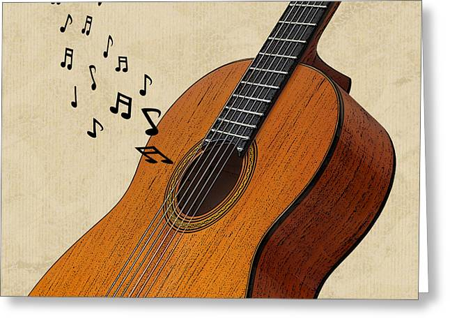 Orange And Brown Designs Greeting Cards - Acoustic Guitar Sounds Greeting Card by Gill Billington