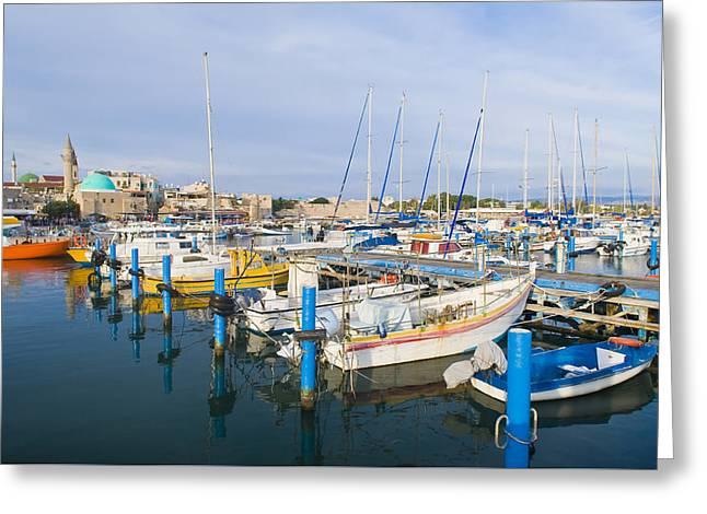 Acre Port Greeting Card by Kobby Dagan