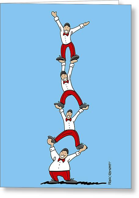 Doodle Greeting Cards - Acrobatic Human Pyramid Greeting Card by Frank Ramspott