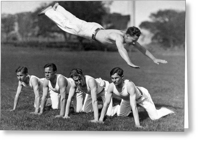 Acrobatic Swandive Greeting Card by Underwood Archives
