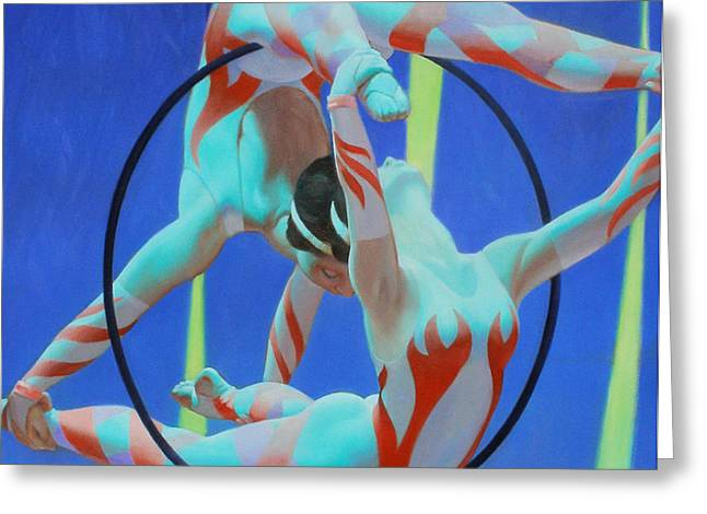 Acrobats Greeting Card by Kevin Lawrence Leveque
