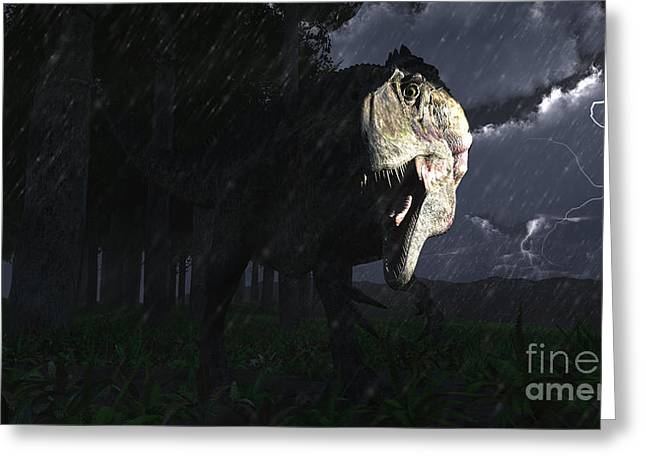 Images Lightning Digital Art Greeting Cards - Acrocanthosaurus Dinosaur On A Stormy Greeting Card by Arthur Dorety