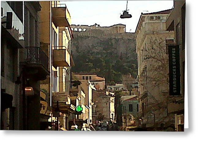 Andreea Alecu Greeting Cards - Acropolis by far Greeting Card by Andreea Alecu
