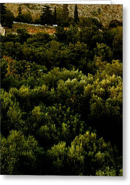 Acropolis Greeting Cards - Acropolis Of Athens At Dusk, Athens Greeting Card by Panoramic Images