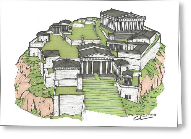 Acropolis of Athens Restored Greeting Card by Calvin Durham