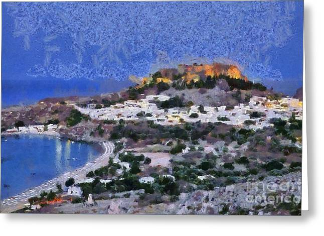 Acropolis village and beach of Lindos Greeting Card by George Atsametakis