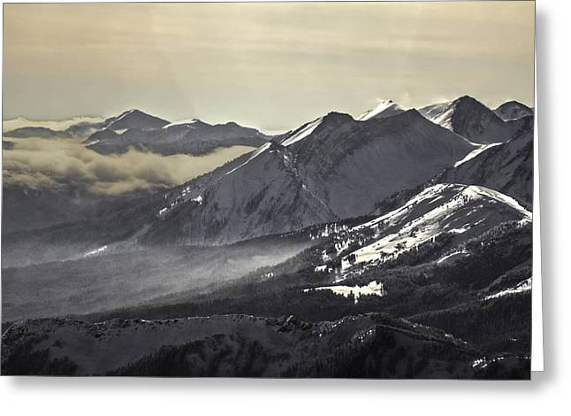 Fine Art Skiing Prints Greeting Cards - Across an Untamed Landscape Greeting Card by Russell Nordstrand