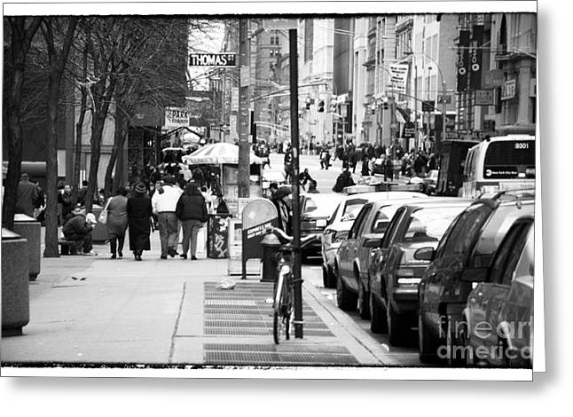 Broadway St Greeting Cards - Across Broadway 1990s Greeting Card by John Rizzuto