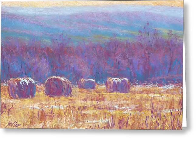 Hay Bales Greeting Cards - Across Dunn Valley Greeting Card by Michael Camp
