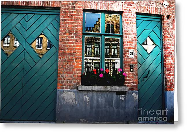 Sunlit Door Greeting Cards - Across the Avenue Greeting Card by Barbara D Richards