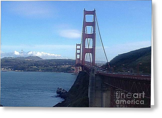 Sausalito Greeting Cards - Across The Bay Greeting Card by Christy Gendalia