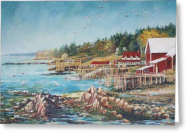 Old Maine Houses Greeting Cards - Across the Bridge Greeting Card by Joy Nichols