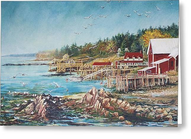 Olson House Greeting Cards - Across the Bridge Greeting Card by Joy Nichols