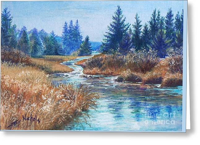 Across The Brook Greeting Card by Joy Nichols